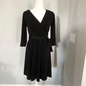 I.N. Studio Black Faux Wrap Dress, size 8